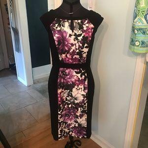 Purple Black Floral Dress White House Black Market